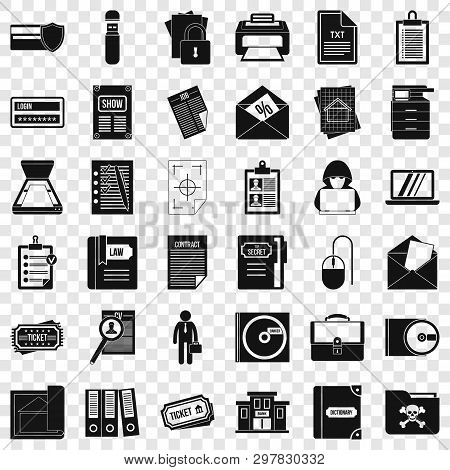 Computer Document Icons Set. Simple Style Of 36 Computer Document Vector Icons For Web For Any Desig