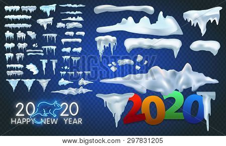 Big Set Of Snow Icicles And Snow Cap Isolated. Cartoon Snowy Elements Over Winter Background. Christ