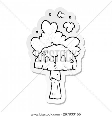 distressed sticker of a cartoon mushroom with spoor cloud