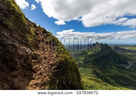 The Trail Up To The Peak Of The Mountain Le Pouce On The Island Of Mauritius With A View Over Pieter