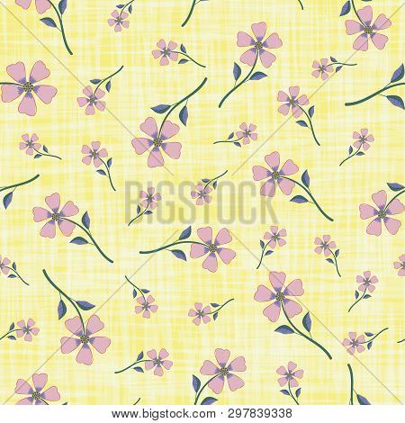 Beautiful Delicate Violet Hand Drawn Flowers On Textured Yellow Watercolor Style Background. Seamles