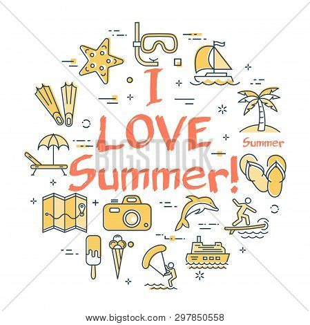 Vector Round Set Of Linear Icons Of Yellow Color Showing Concept Of Summer Activities And Traveling