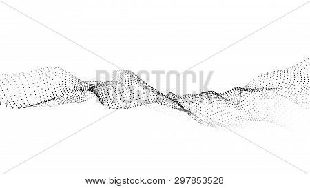 Wave Of Particles. Futuristic Point Wave. Vector Illustration. Abstract Background With A Dynamic Wa