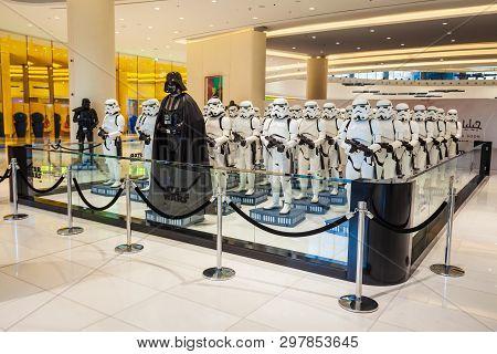 Dubai, Uae - February 25, 2019: Star Wars Character Darth Vader And Stormtroopers In Dubai Mall In U