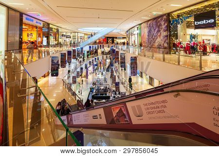 Dubai, Uae - February 26, 2019: The Dubai Mall Marina Is On Of The Largest Shopping Mall In The Worl