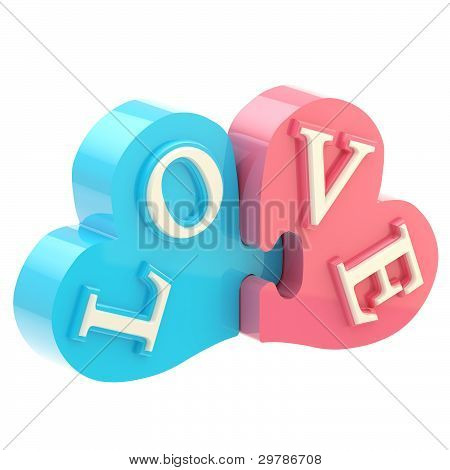 """Word """"love"""" made of puzzle hearts"""