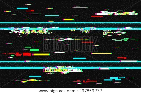 Glitch Distortion Template. Vhs Background With Glitched Color Lines. Abstract Pixel Noise With Rewi