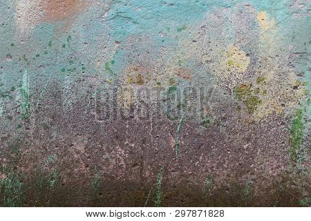 Colored Stone Texture From Old Dirty Concrete Wall Of A Building