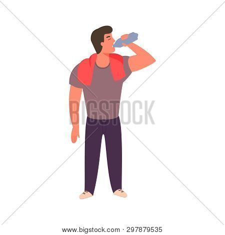 Athletic Young Man Is Drinking Water From A Bottle. Fitness And Healthy Lifestyle Concept. Guy Quenc