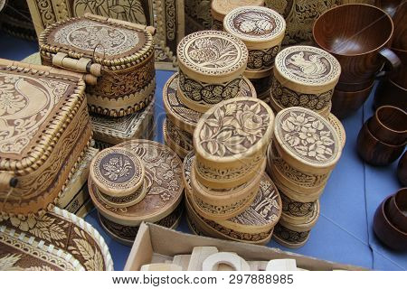 Ulan-ude, Buryatia, Russia. Exhibition And Sale Of Russian And Buryat Folk Souvenirs Crafts Fair. Bi