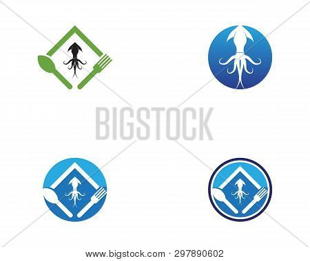 Squid Resto Icon Logo Design Vector Template