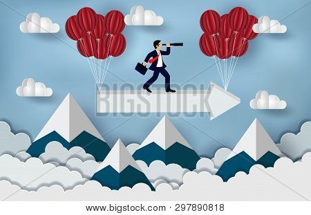 Business Success Concept. Businessman Standing On A Arrow To Looking With The Binoculars Growth Mode