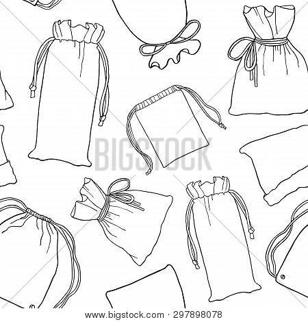 Seamless Pattern Zero Waste Cotton Bags For Shopping. Set Of Hand Drawn Sketches Reusable Textile Ba