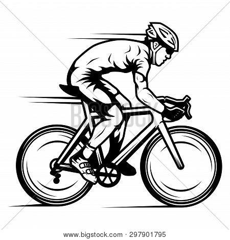 Profesional Cyclist Riding A Road Bike In A Bike Race