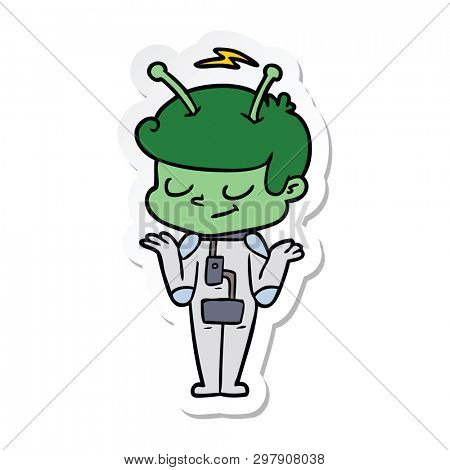 sticker of a friendly cartoon spaceman shrugging