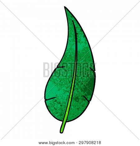 hand drawn textured cartoon doodle of a green long leaf