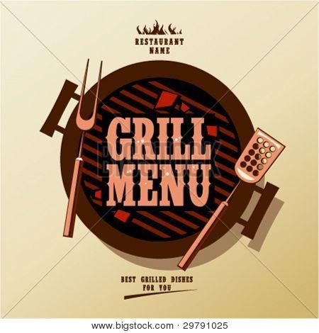 Grill Menu Card Design template.