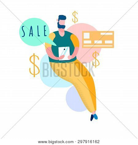 Online Shopping Sales Flat Vector Illustration. Ecommerce, E Trade. Internet Store Special Offer, Di