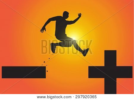 Silhouette Of Man Jumping From Minus Sign To Plus Sign On Golden Sunrise Background, Pessimistic To