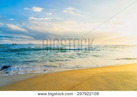 Cua Dai Beach in Hoi An Vietnam at sunset poster