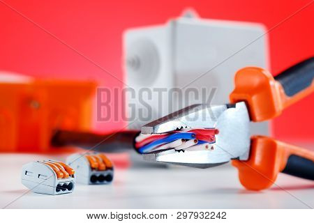 Electrical Cable Connection. Tool And Electric Component.