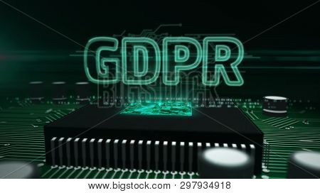 Gdpr General Data Protection Regulation Act Hologram Over Working Cpu In Background. Privacy Safety
