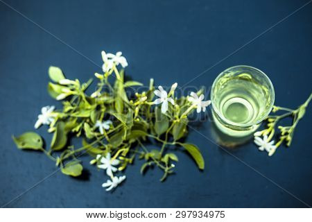 Close Up Of Extract Of Indian Jasmine Flower Or Juhi Or Jasminum Auriculatum On Wooden Surface In A
