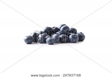 Blueberries Isolated On White Bacground. Ripe Blueberries With Copy Space For Text. Blueberry Isolat