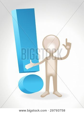 the figure of a man stands next to a exclamation mark