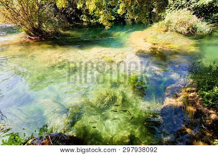 Krka, Sibenik, Croatia, Europe - Flowing With The Calm Stream Course Of The Krka R