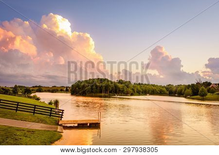 Scenic lake in Bluegrass region of Kentucky at sunset