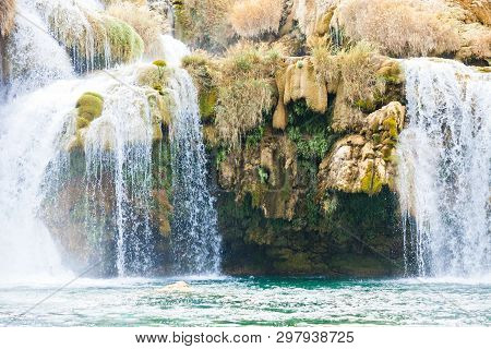 Krka, Sibenik, Croatia, Europe - Overhang Under A Waterfall Within Krka National Park