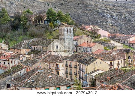 Church Of San Bartolome In Sepulveda, Small Historical Town In Segovia Region Of Spain