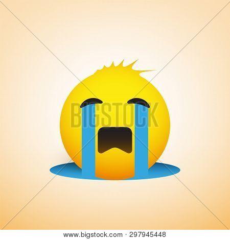 Crying Sad Emoji With Funny Hair - Simple Emoticon, Vector Design