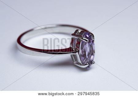 Shiny Wedding Engagement Ring On A White Background