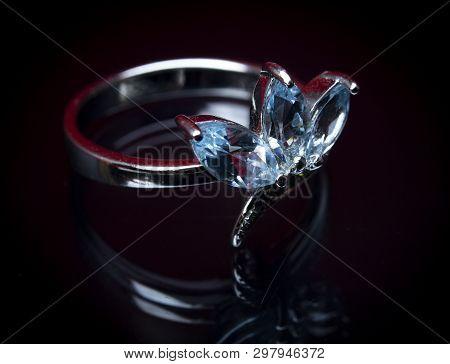 Shiny Engagement Ring On Black Background Engagement