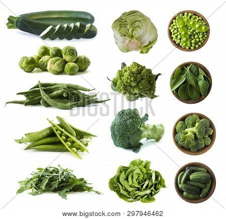 Various Green Vegetables Isolated On White Background. Zucchini, Green Beans, Brussels Sprouts, Gree