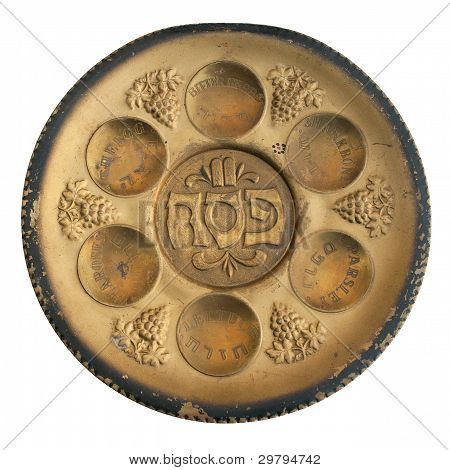 Vintage Passover Seder Plate Isolated On White