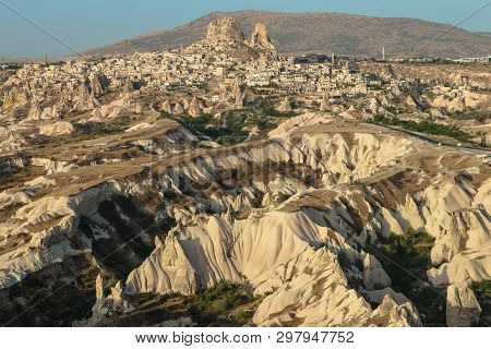 View Of Capadocia, Uchisar Castle And Unique Geological Formations In Cappadocia, Turkey
