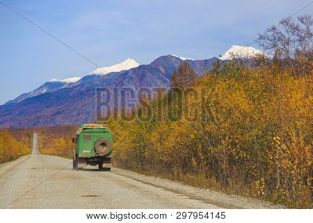 Kamchatka, Unnamed Road, Russia- 27 September 2014: Russian Off-road Extreme Expedition Truck With P