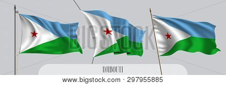 Set Of Djibouti Waving Flag On Isolated Background Vector Illustration. 3 Blue Green Djiboutian Wavy