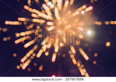 New Year Celebration Fireworks. Abstract Colorful Fireworks, Background Festive New Year With Firewo