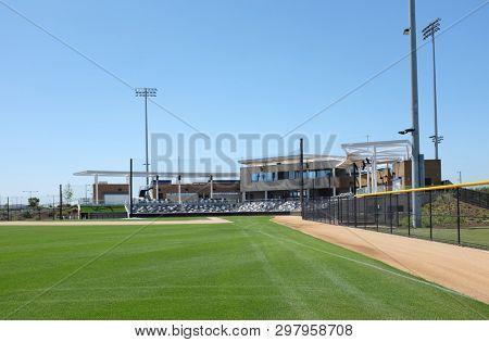IRVINE, CALIFORNIA - APRIL 25, 2019: The Championship Baseball Stadium at the Orange County Great Park Spots Complex.