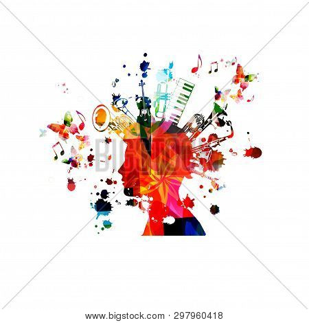 Music Instruments Background With Music Notes. Colorful Double Bell Euphonium, Violoncello, Trumpet,