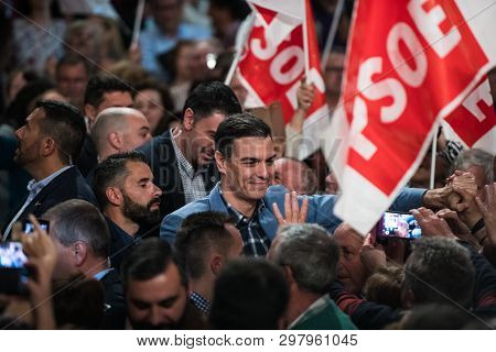 Caceres, Extremadura, Spain - April 02, 2019: The Spanish Prime Minister And Psoe Candidate In The N