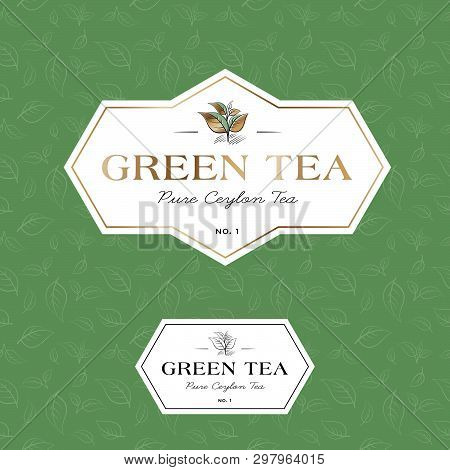 Green Tea Logo And Seamless Pattern. Label For Elite Tea. The Leaves And Letters In A Classic Style