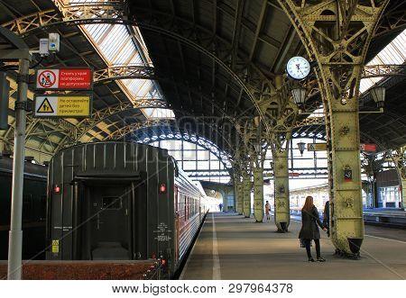 Train Station Platform At Historical Vitebsky Railway Station In St. Petersburg, Russia On April 21,