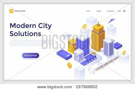 Landing Page With Downtown Buildings And Streets, Map Pins And Place For Text. Modern City Solutions
