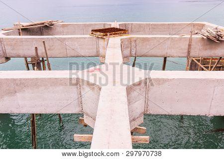 Reinforce Concrete Beams Of Under Construction Pier, South Of Thailand