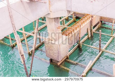 Construction Details: Piles, Columns, Beams Of Under Construction Pier, South Of Thailand